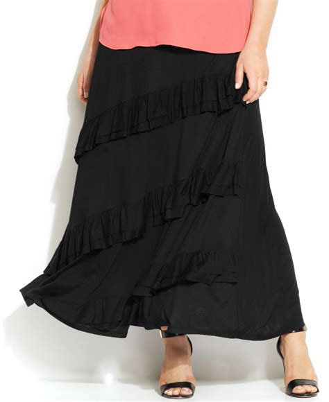 inc international concepts plus size tiered maxi skirt in