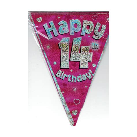 Bunting Flag Happy Birthday Polkadot 1 happy 14th pink birthday bunting