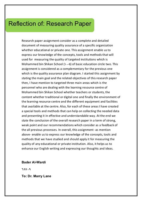 research reflection report sle research paper reflection