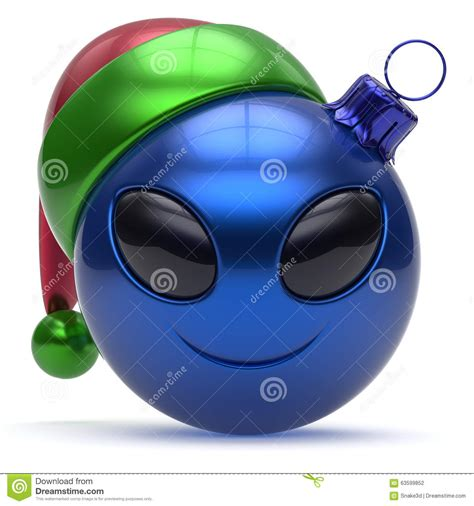emoticon christmas ball smiley alien face happy  year stock illustration illustration