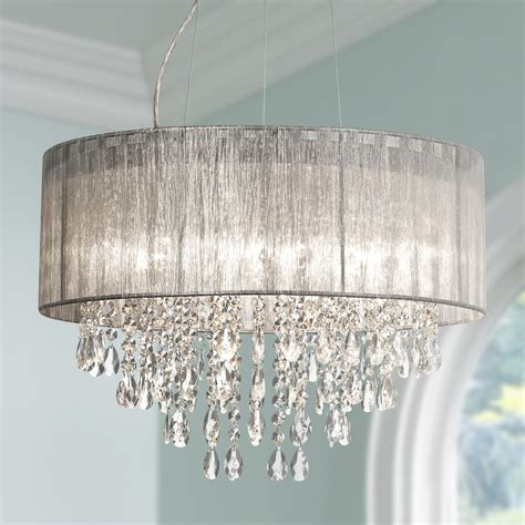 bedroom crystal chandelier possini euro jolie 20 quot w silver fabric crystal chandelier