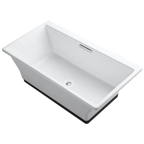 kohler freestanding bathtub shop kohler reve 66 9375 in white cast iron freestanding bathtub with center drain at