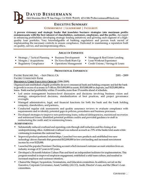 executive summary sle for resume whats a summary of qualification for a resume
