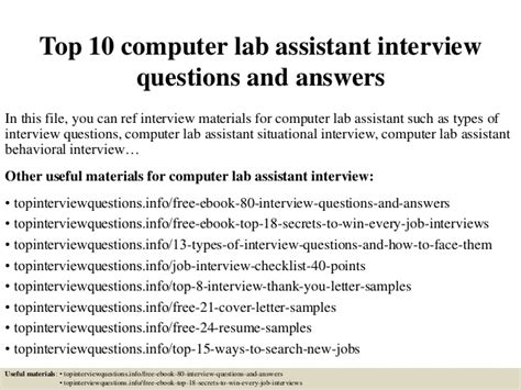 top 10 computer lab assistant questions and answers
