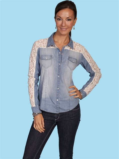 scully and scully ls scully 174 women s denim and lace long sleeve snap western blouse
