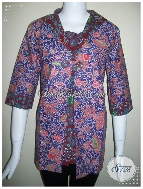 Gamis Wanita Karir baju batik blus lengan tiga perempat bagi wanita karir