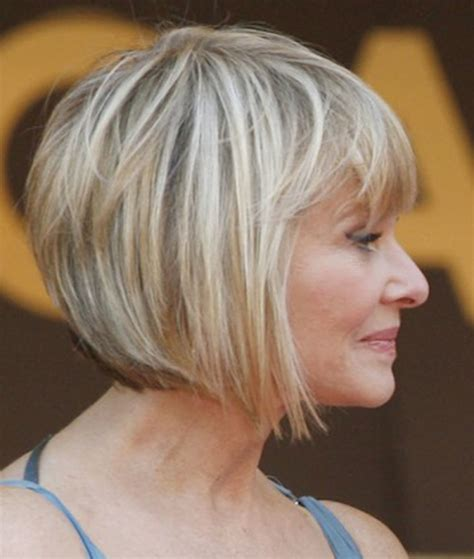 Elegant discreetly angeled bob cut hairstyles for older women over 50