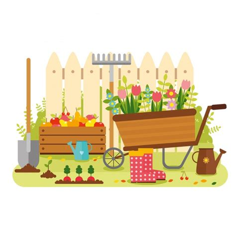Gardening Vector Garden Background Design Vector Premium