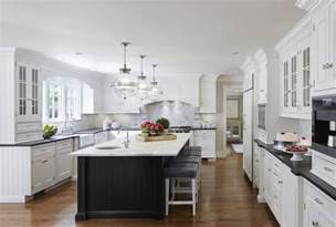 White Kitchen Black Island by White Cabinets With Black Island Transitional Kitchen