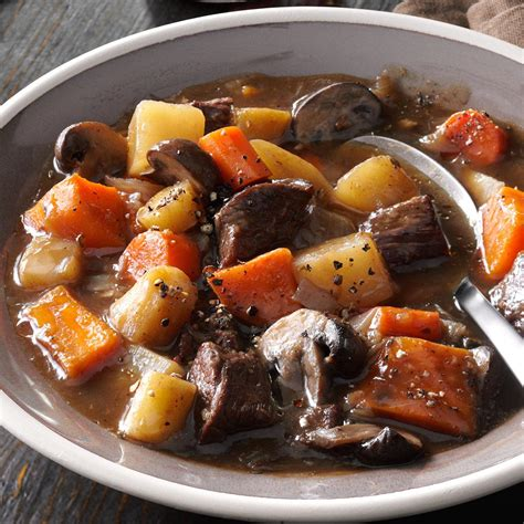 6 hearty recipes making potatoes main dish worthy hearty beef sweet potato stew recipe taste of home