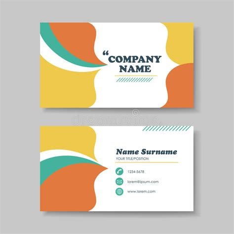 Creative S Day Card On Template Word by Vector Business Card Design Template Of Orange Stock