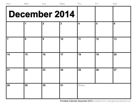 printable december monthly calendar 2014 printable calendar december 2014