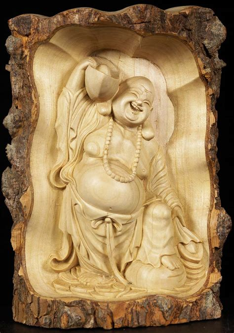 wooden fat happy buddha carving  wz hindu gods