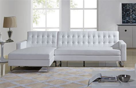 White Leather Contemporary Sofa Clovis Modern White Leather Sectional