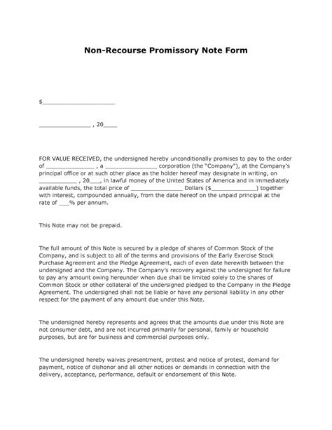 Non Recourse Loan Template Free Non Recourse Promissory Note Form Pdf Template Form Download