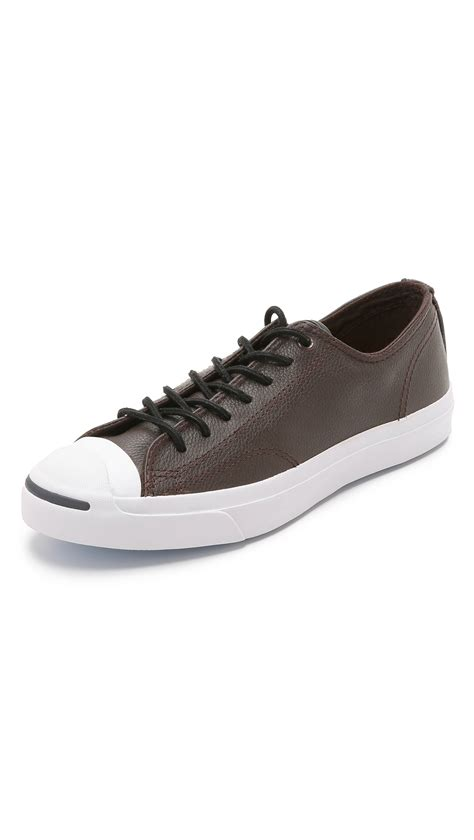 converse black sneakers lyst converse purcell leather sneakers in black for