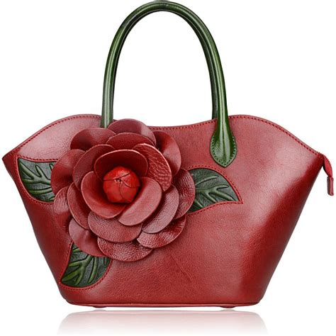 Flower Pattern Leather flower pattern leather handbag lh1804 4 colors