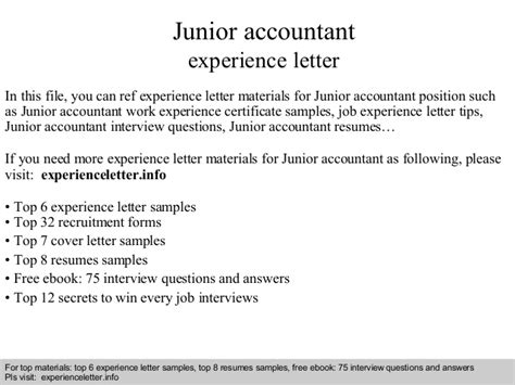 Work Experience Letter Of Accountant Junior Accountant Experience Letter