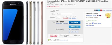 Samsung Promo Code Deal Alert Samsung Galaxy S7 Duos On Sale For 382 50 With Ebay Coupon Code