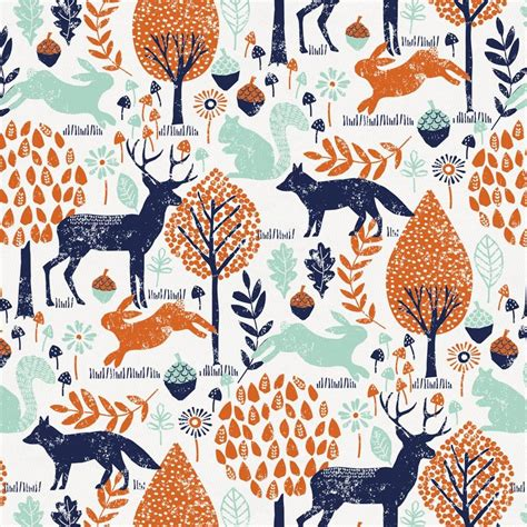 Woodland Wall Mural navy and orange woodland animals fabric by the yard navy