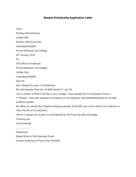 Scholarship Cancellation Letter Request Letter For Scholarship Application Sle Application Letter Format Doc Cover