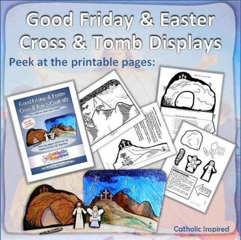 good friday easter cross  tomb printable coloring