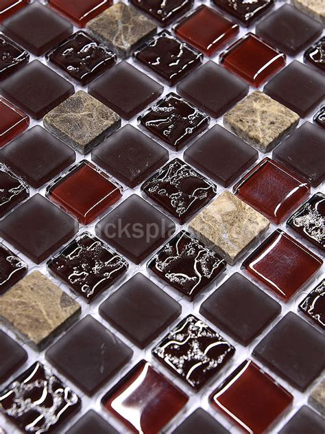 burgundy marble glass mixed mosaic backsplash tile