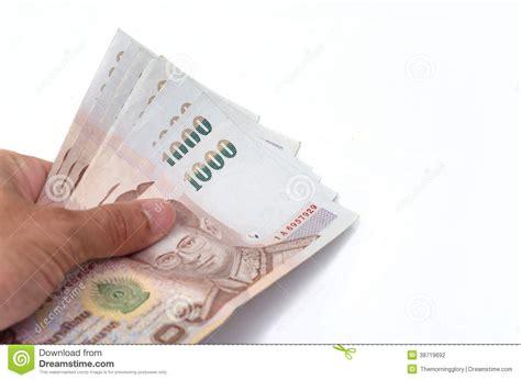 wechselkurs baht bangkok bank holding a bulk of 1000 baht stock photography image