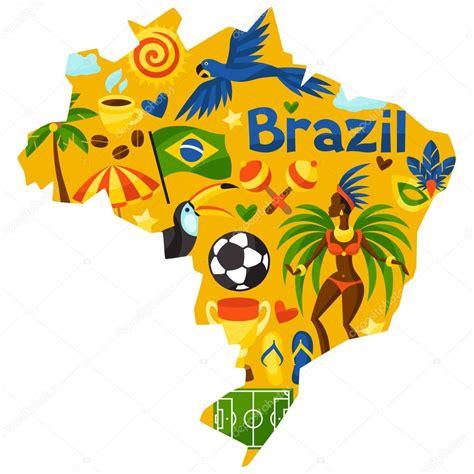 imagenes sorprendentes de brasil mapa de brasil con objetos estilizadas y s 237 mbolos