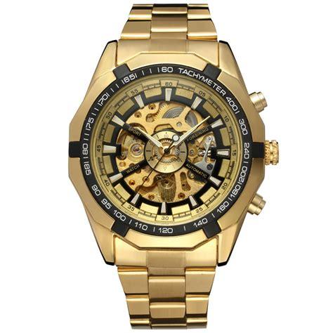 wholesale gold color skeleton automatic mechanical
