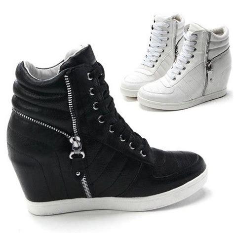 womens black white zippers high top wedge sneakers