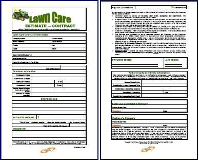 lawn service business estimate form lawn care contract combo estimate contract form