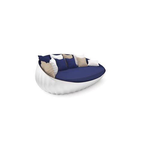 oval loveseat oyster white lacquered blue fabric upholstered outdoor