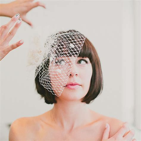 Wedding Bob Hairstyles With Veil by Bob Wedding Hair With A Birdcage Veil Wedding Hairstyles