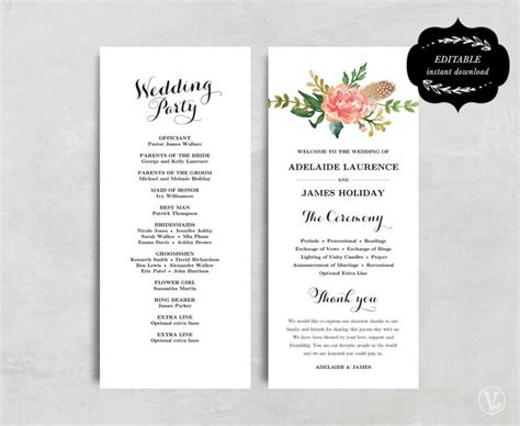Printable Wedding Program Template Floral Wedding Program Boho Wedding Program Diy Wedding Diy Wedding Program Template
