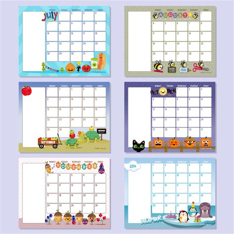 printable monthly calendar kindergarten 6 best images of free printable preschool calendar