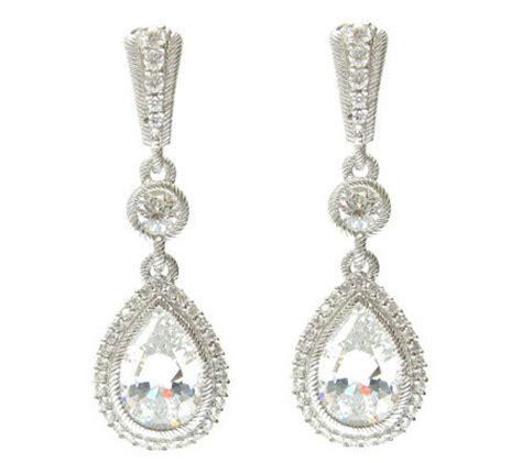 judith ripka sterling diamonique pear halo earrings