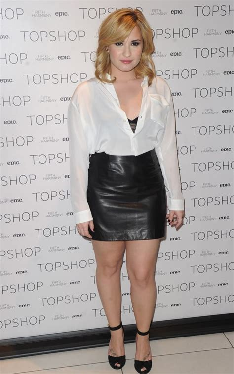 demi lovatos leather skirt she wore a skirt