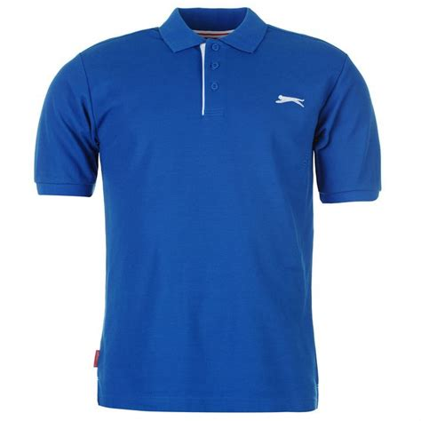 Casual Summer Polo Shirt Blue slazenger mens plain polo shirt sleeve collar neck