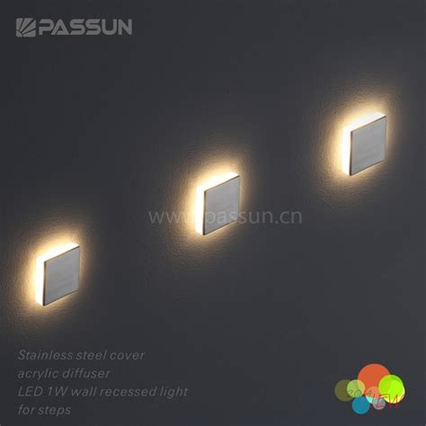 interior recessed wall mounted led step light 1w with