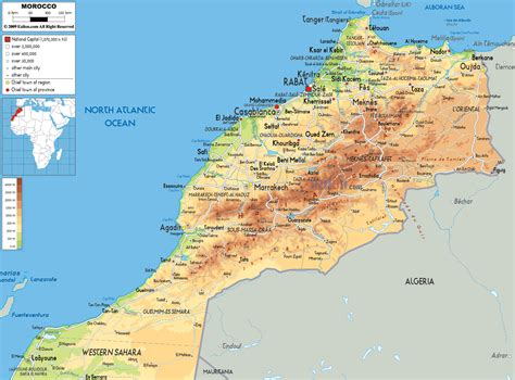 middle east map morocco physical map of morocco ezilon maps
