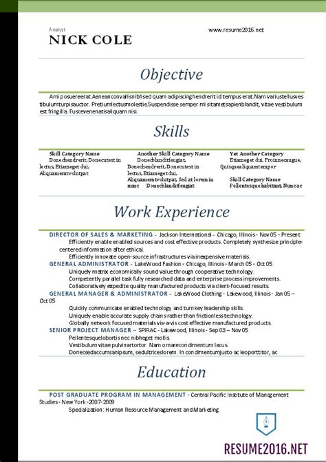 Free Word Resume Templates 2016 by Word Resume Templates 2016 Standard Resume Format 2016