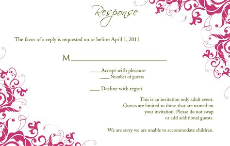 response cards template for weddings birthday sweet 16 birthday invitations templates