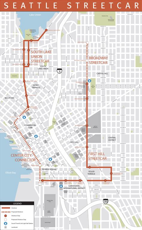 seattle map of usa seattle streetcar map