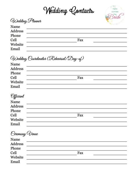 wedding contact list template wedding planning vendor contact list wedding planning