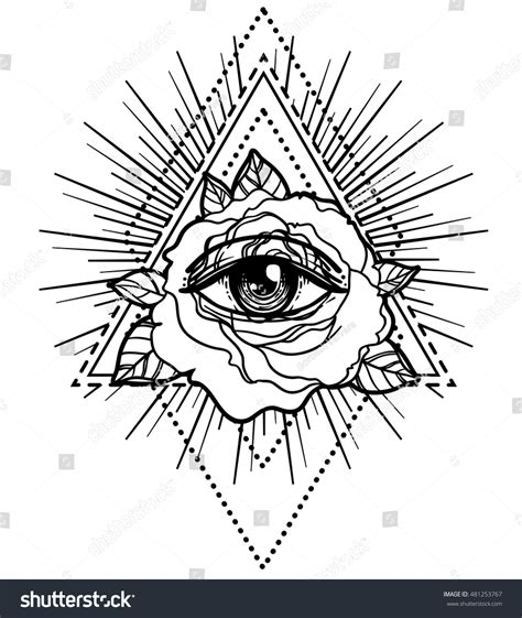 royalty free all seeing eye pyramid symbol with rose