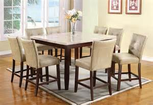 Marble Top Dining Room Sets Acme 9 Pc Square Marble Top Counter Height Table Set By Dining Rooms Outlet