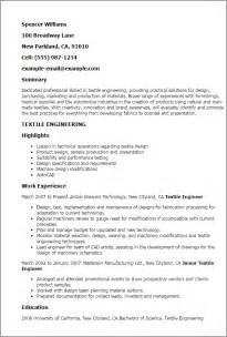 Textile Engineering Cover Letter by Professional Textile Engineering Templates To Showcase Your Talent Myperfectresume