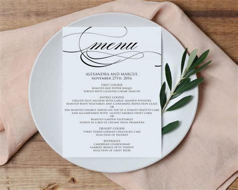 diy wedding reception menu card template wedding menu printable template printable menu diy
