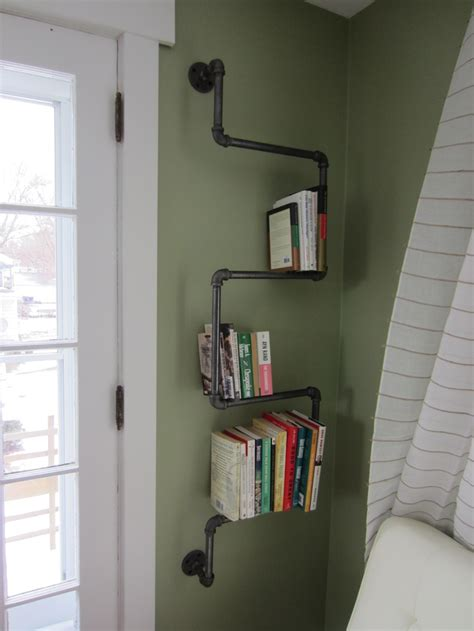 pipe shelf in the husbands office black 1 2 quot galvanized